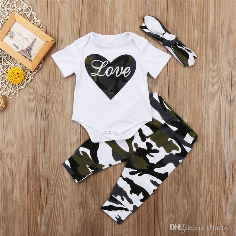 3ce9771abda3 2019 Fshion Baby Girl Camouflage LOVE Romper+Pants+Headband Outfits Set  Clothes Heart Kid Girl Boutique Clothing Summer Toddler 0 24M From  Tyfactory