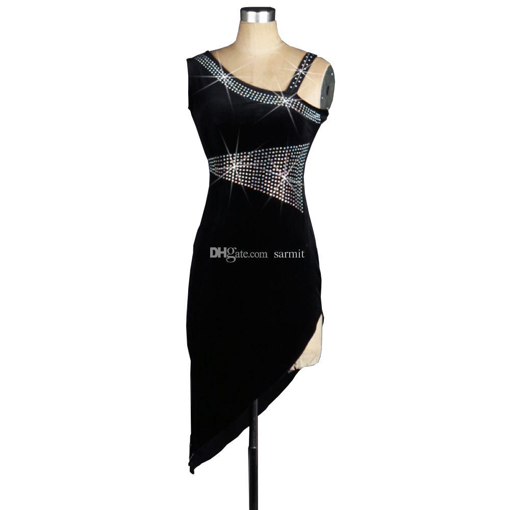 Terciopelo vestido de baile latino vestido de baile de las mujeres vestidos de competencia Salsa Tango trajes de salón D0124 con sujetador Copa ropa interior Rhinestones