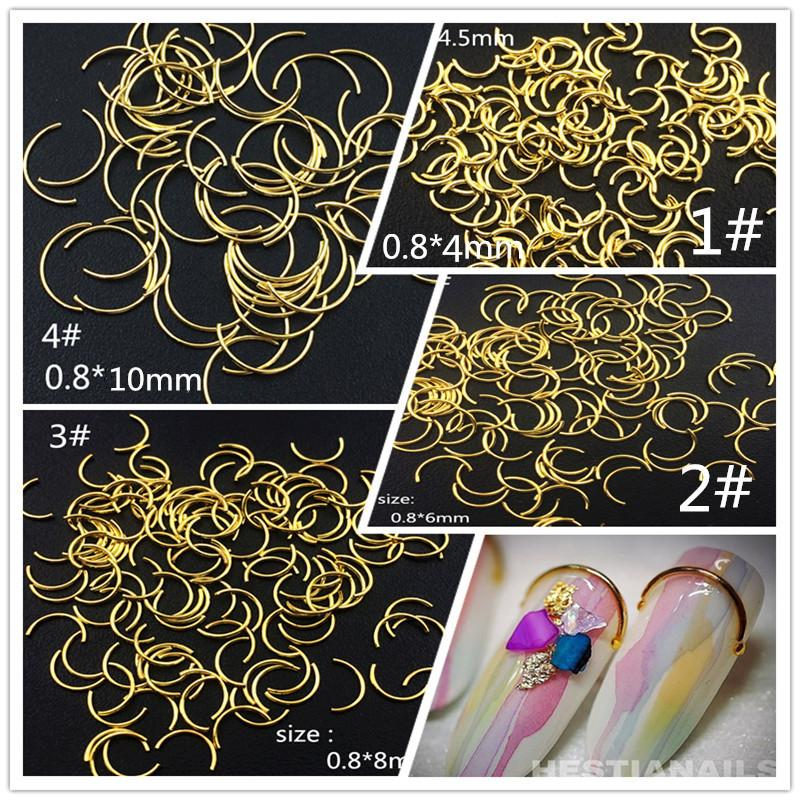 100 Pcs / Lot 4mm 6mm 8mm 10mm Or Argent Punk Métal Bent Rods Rivets Goujons Alliage de Métal Nail Art Décorations / Autocollants pour Manucure