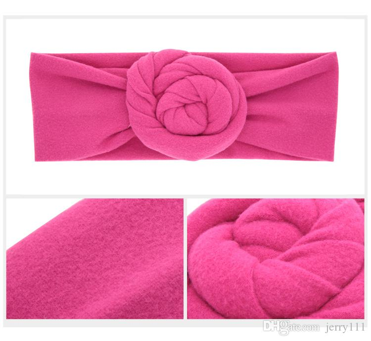 Baby Top Knot rose Headband Toddler soft Turban photography props retro Hair Accessories girls boys Headband wrap LC698