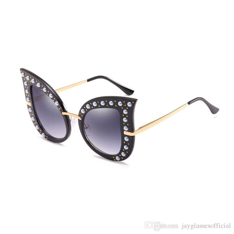 7d9fc2a064f Fashion Oversized Cat Eye Sunglasses For Women Decorate Diamond Frame Eyewear  Women Brand Designer Sun Glasses For Party Black Sunglasses Cycling  Sunglasses ...