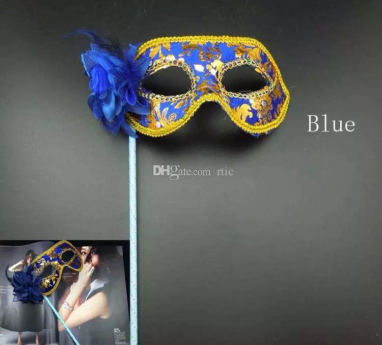Hand Made Party Mask with stick Wedding Venetian Half face flower mask Halloween Masquerade princess Dance party Mask