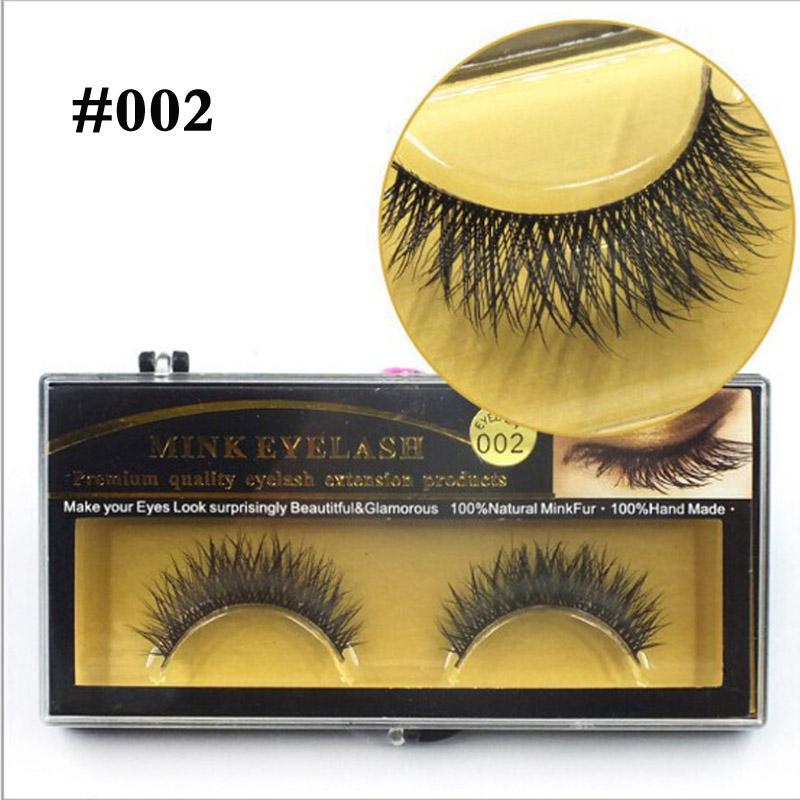 60 أزواج بريميوم المنك الشعر الرموش الصناعية الفرقة السوداء الصليب مستدق المرأة سيدة رموش ماكياج # 001 # 002 # 004 # 007