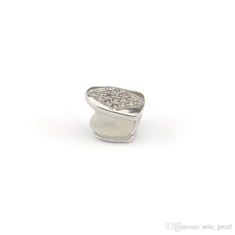 Hiphop grillz Tek Metal Diş Grillz Altın gümüş Renk Diş Grillz Üst Alt Diş Kadınlar için Vücut Takı Caps Erkekler Moda toptan