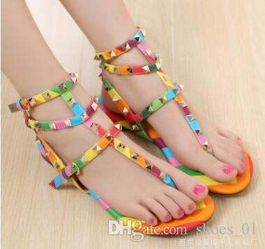 033f3f583e3ca2 Size 34 42 Rainbow Color Gladiator Sandals Women Designer Brand Rivets Flip  Flops T Strap Sandals Ankle Belt Roman Shoes Wedge Boots Comfortable Shoes  From ...