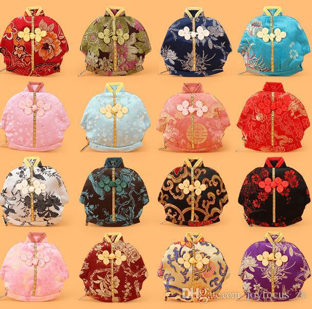 13x12cm Vintage Chinese Clothes Shaped Small Bag Zipper Coin Purse Jewelry Gift Pouches Silk Brocade Craft Packaging Bag