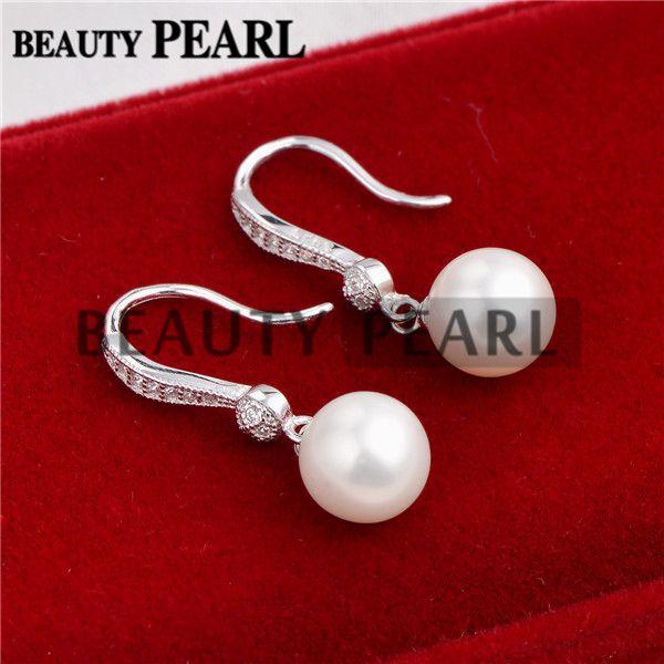 8-9mm rond blanc d'eau douce perles de culture Zircon 925 Boucles d'oreilles en argent sterling mariée femmes Bijoux