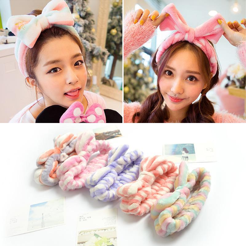 New Brand Lovely Womem Ladies Girl Headwear Bow Dot Striped Soft Shower Hair Band Wrap Headband Bath Spa Makeup Cute Headwear Accessories