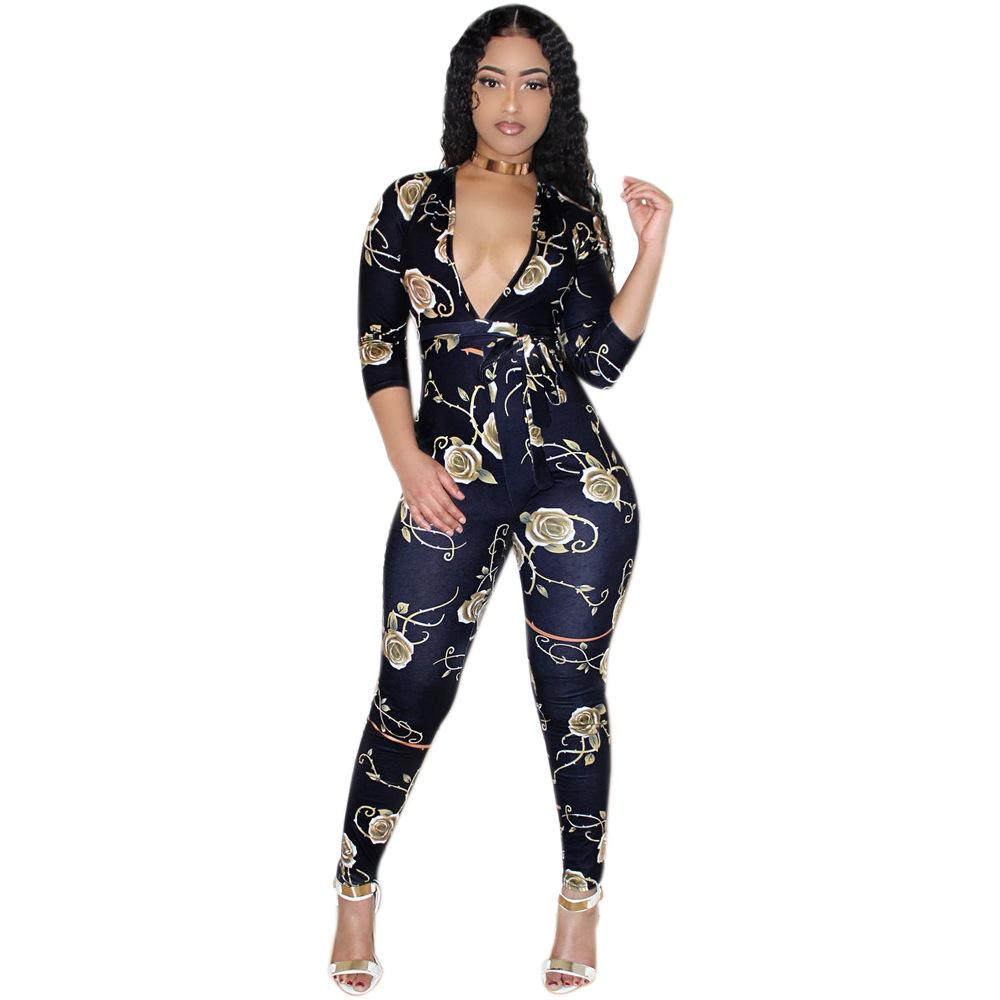 c656aa3445 2019 S XXL 2018 Summer Women Rompers Jumpsuits Flower Print Clothing Casual Sexy  Deep V Neck Tunic Bodycon Rompers Overalls Plus Size From Cactuse