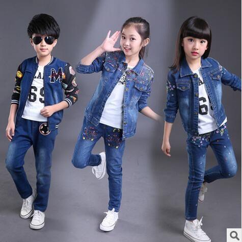 a8e054ebc95 2019 2017 New Children Denim Clothing Suits Irls Pant+Coat Fashion ...