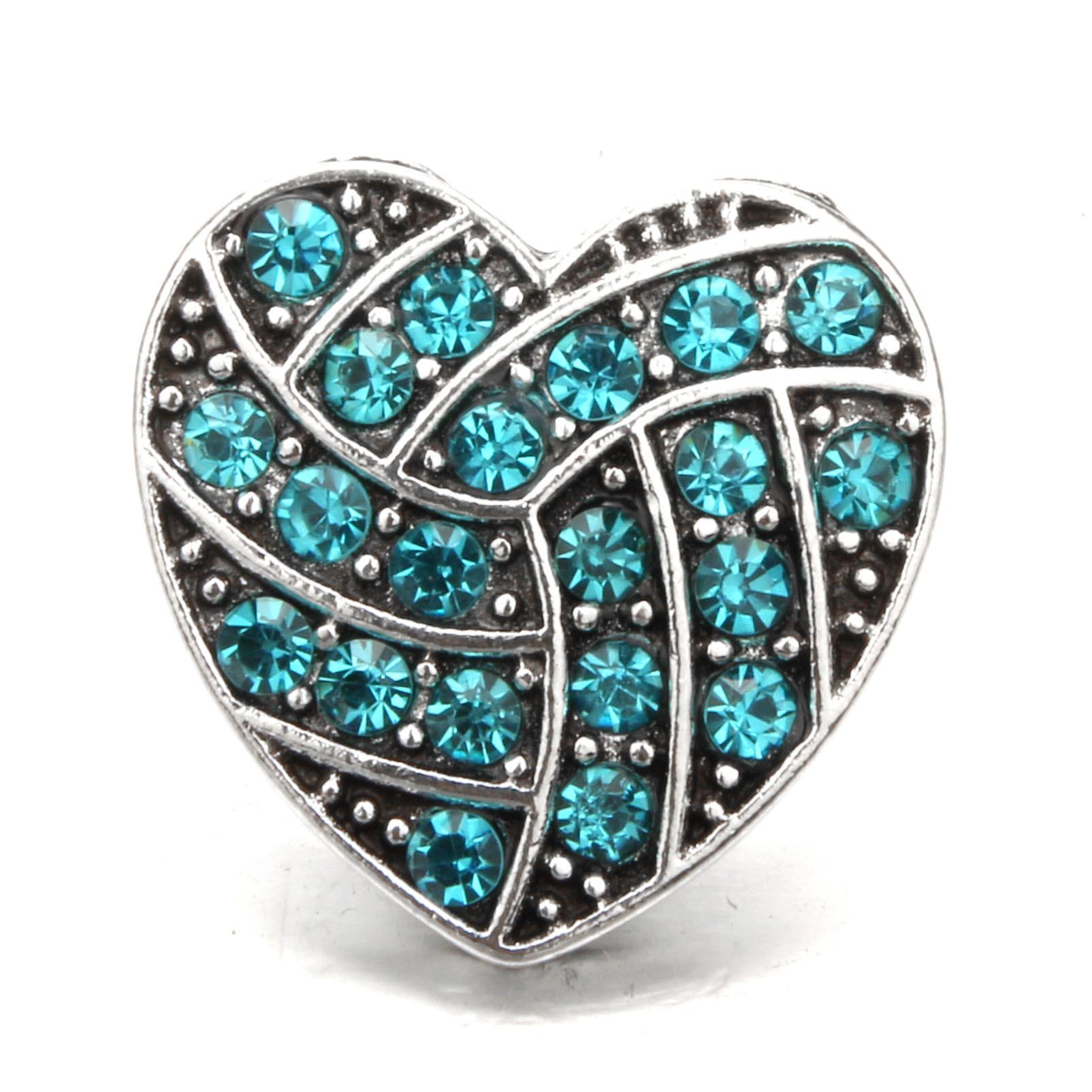 Heart shape multi color button antique silver 18mm Soft bag alloy DIY crystal rhinestone alloy snap Noosa style chunks press button jewelry