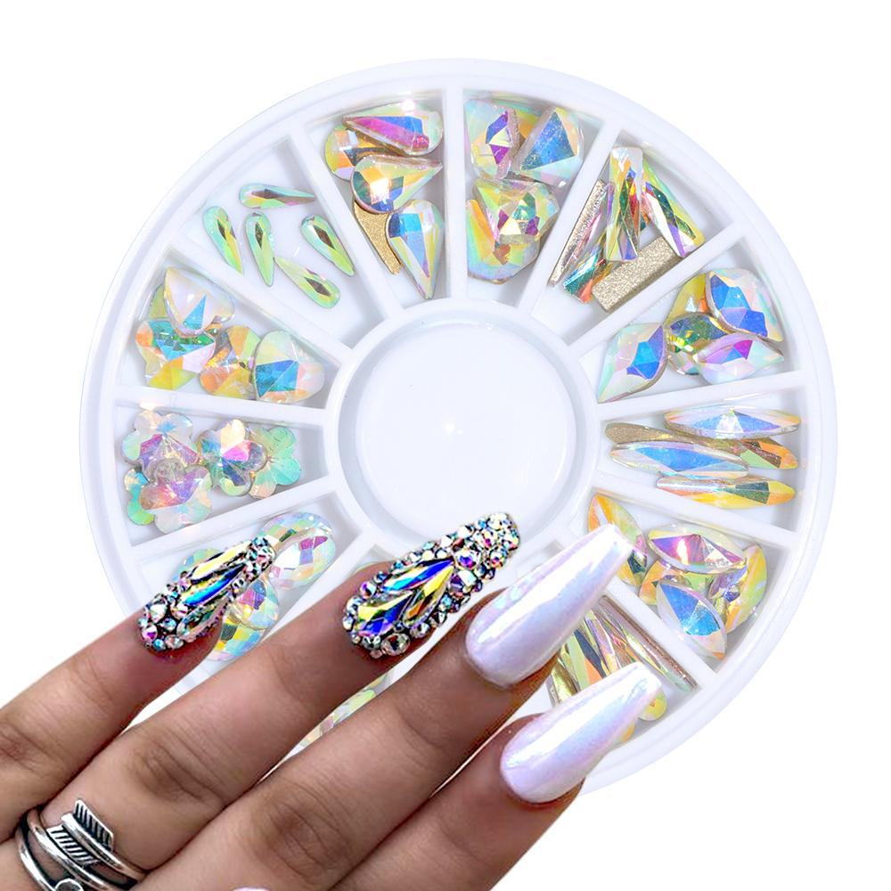1 Wheel Crystal AB Nail Gems Rhinestone for Nail Art Glass Geometry Blossom Jewelry Diamond Stone Decoration Manicure BE694
