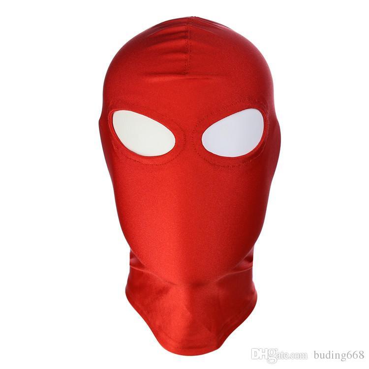 BDSM Bondage Leather Hood for Adult Play Games Full Masks Fetish Face Locking Blindfold for Sex