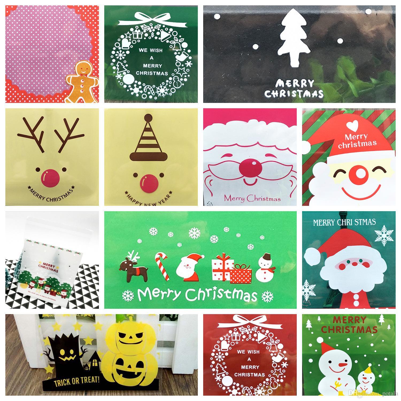 Christmas Gift Bags Self Adhesive New Year Plastic Cookies Packaging ...