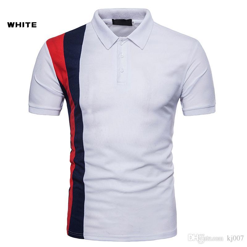 Рубашки поло Черные полосатые рубашки дизайна Рубашки поло Футболки с нагрудным вырезом Высокого качества Хлопок Популярные рубашки Новые модные шорты для мужчин