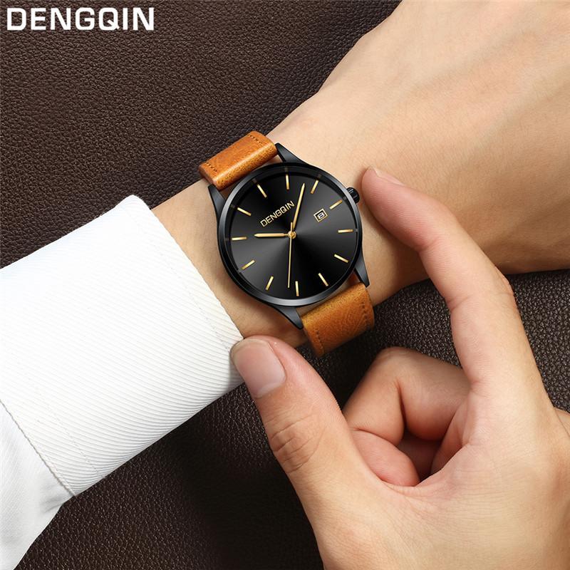 Compre DENGQIN Relojes De Cuero Para Hombres Reloj De Cuarzo De Los Hombres  30m Vida Impermeable Mejor Reloj Del Hombre Regalo Correa De Cuero Genuino  ... d787137a6a6b