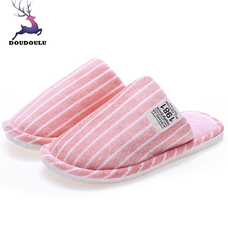 Winter Stripe Indoor Slippers Home Anti-Slip Soft Warm Shoes
