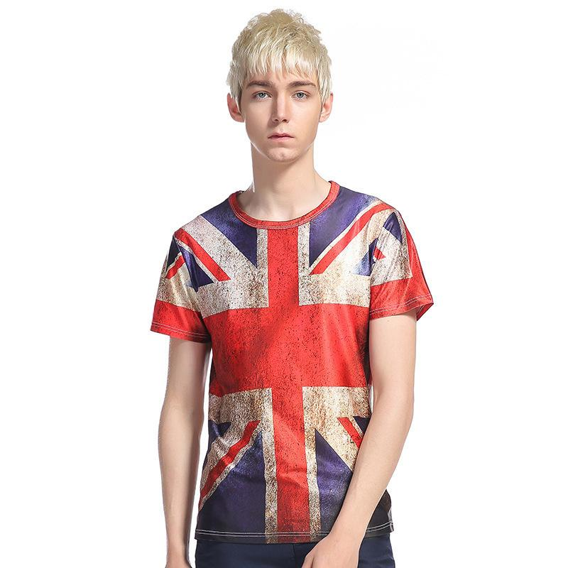 LEQEMAO 2018 Summer T-shirt Man Print Funny Tops Hombre Casual Inglaterra British Flag Print Short-sleeved Round Neck T-shirt