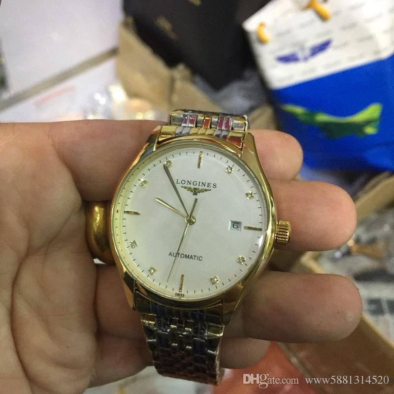 4911d4ac9b54 Compre 2018 Marca De Lujo Oro Día Fecha Reloj Esqueleto Diamantes Hombres  Inoxidable Reloj Mecánico Automático Reloj De Pulsera AAA Para Hombre  Relogio ...