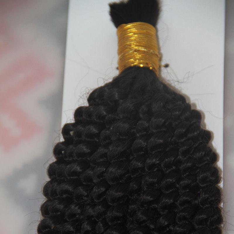 1 Jet black 1 пучки 10 до 26 дюймов плетение человеческих волос навалом нет уток монгольский афро кудрявый вьющиеся Навальные волосы Для плетения