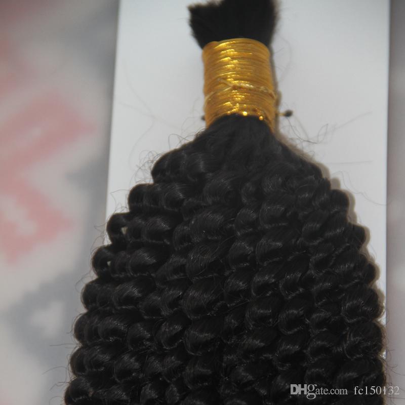 1 Jet noir 1 Bundles 10 à 26 pouces Human Hair Tressing Bulk Pas de Trame Mongol Afro Kinky Curly Bulk Cheveux Pour Tressage