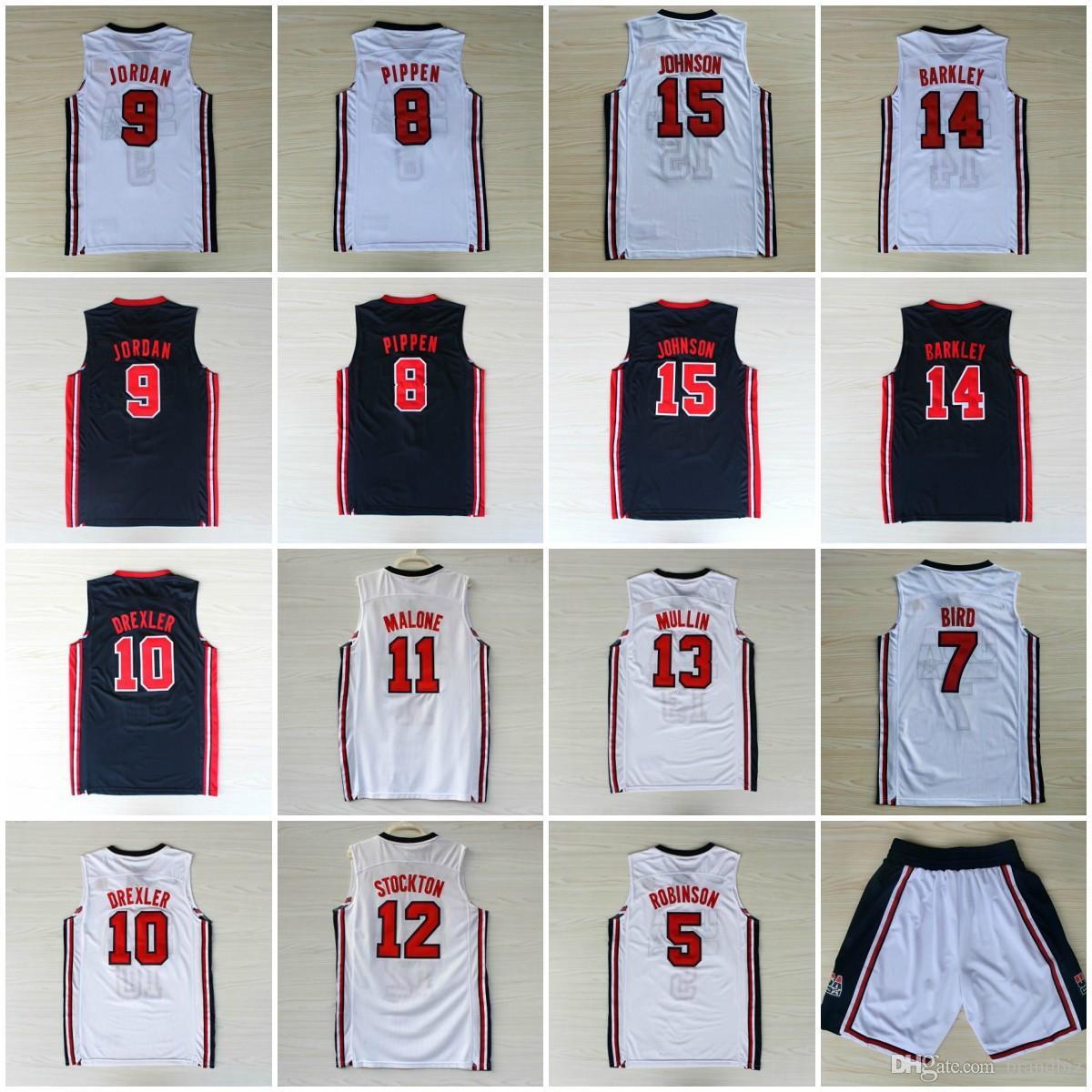 be78d294a044 2019 1992 USA Dream Team Robinson Jersey Ewing Bird Pippen MJ Clyde Drexler  Malone Stockton Mullin Barkley Johnson Mens Stitched Shorts College From ...