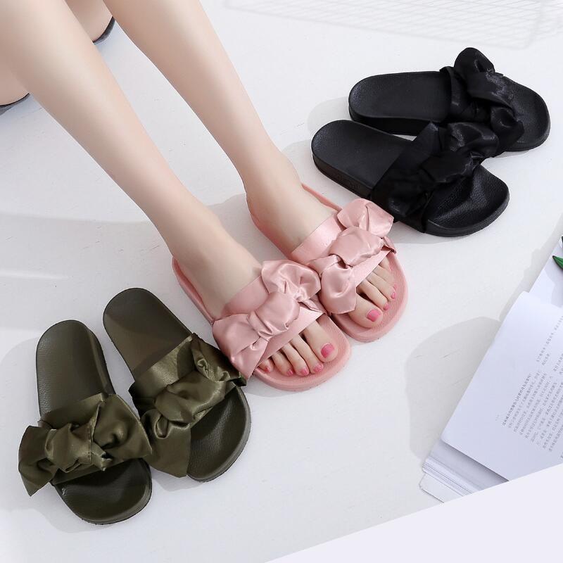 pretty nice 76590 8ea38 Rihanna Slippers Elegant Bow Women s Summer Slippers Flat Scuffs Slide  Black Sandal,Women Classical Fenty Slippers Black Slide Sandals