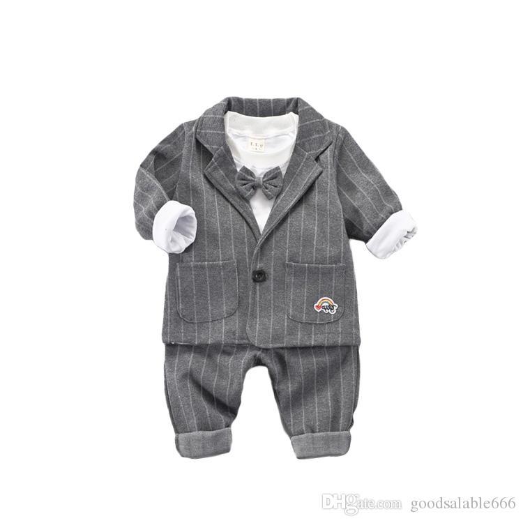 78b143229 Baby Boy Gentleman Striped Clothing Kids Business Suit Fashion ...