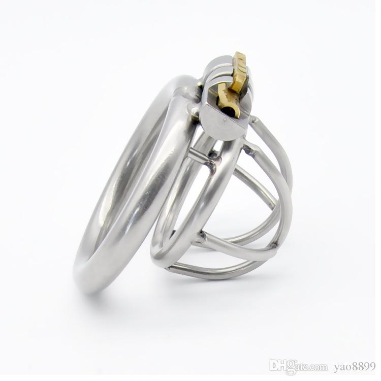 SODANDY Chastity Devices Male Small Penis Lock Stainless Steel Chastity Belt Metal Cock Cage For Men With Curved Penis Rings