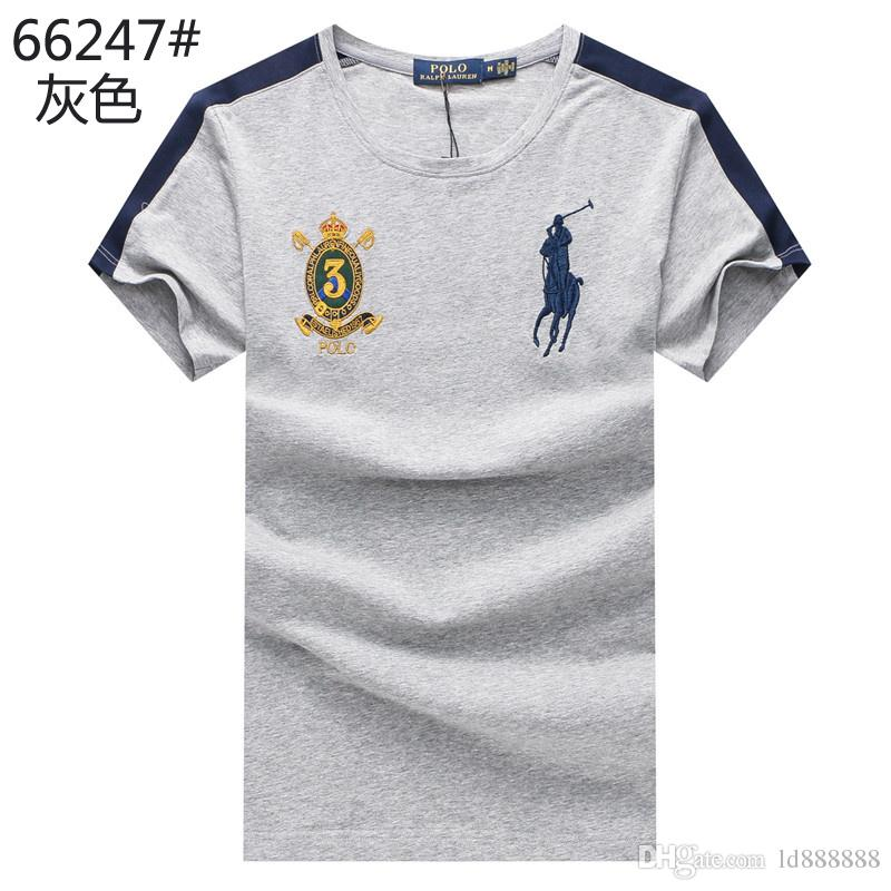 2018 American flag Fashion Design Brand Men's Casual Cotton Embroidery Wolf and short sleeve lapel T Shirts Slim M-3XL 6019