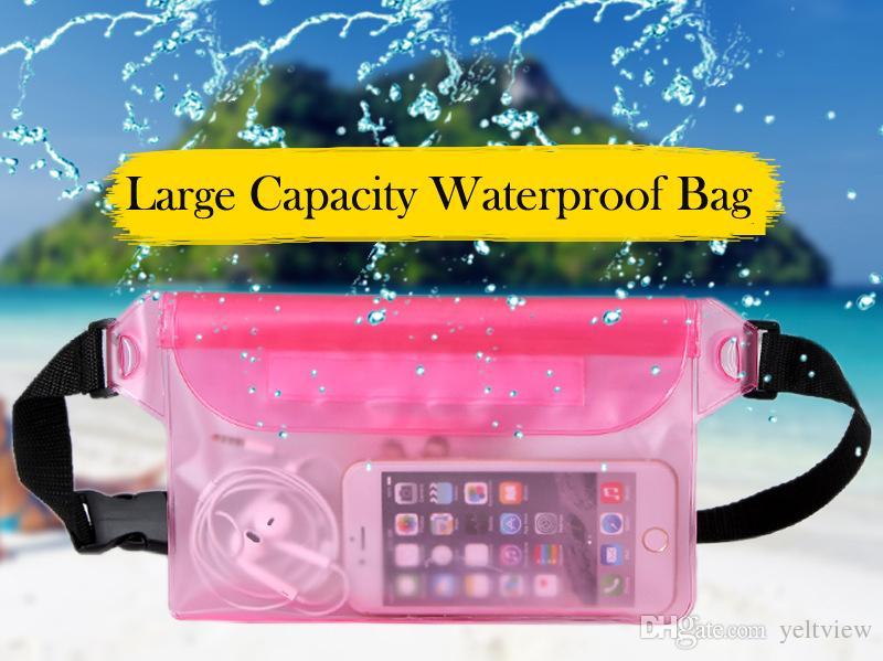 large capacity Waterproof Waist Bag Transparent PVC phone Pouch Stitch Underwater Travel Phone Pocket Outdoors Drift Swimming Pack Belt Bag