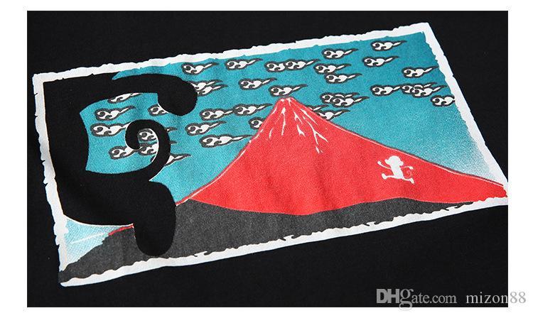 صيف جديد وو كونغ هذا المحل في اليابان المد العلامة التجارية فوجي الكرتون الصغيرة الاتجاه الجديد للرجال قصيرة الأكمام تي شيرت