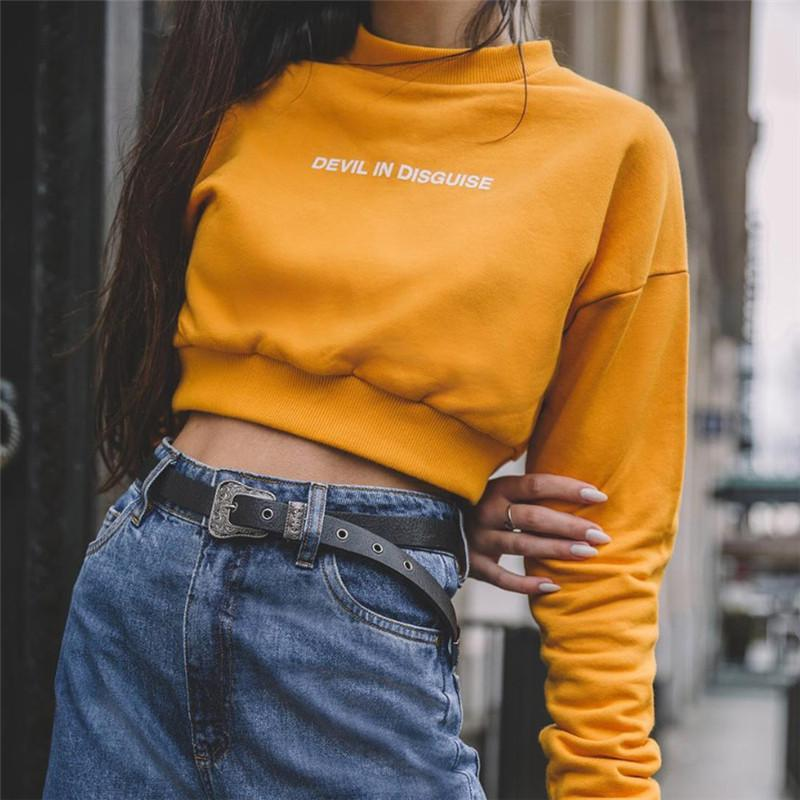 4d8cb52fc 2019 Women Yellow Croped Hoodies Sweatshirt Tumblr Cute Korea ...