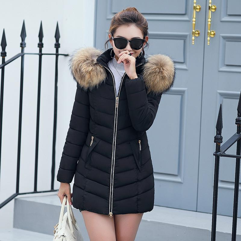 2018 Casual Women Winter Down Jacket Slim Long Cotton-padded Faux ... 726d7da38