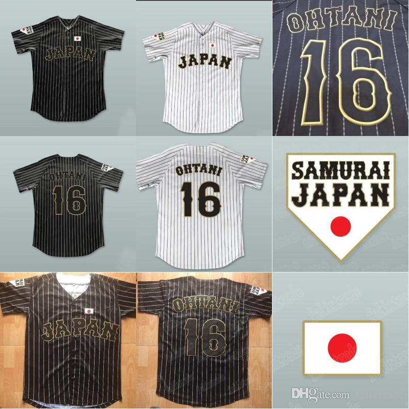 Shohei Ohtani  16 Japan Samurai Black White Stripe Pinstriped Baseball  Jersey All Stiched Custom Any Name   Number For Men Women Youth UK 2019  From ... 11fff9def2