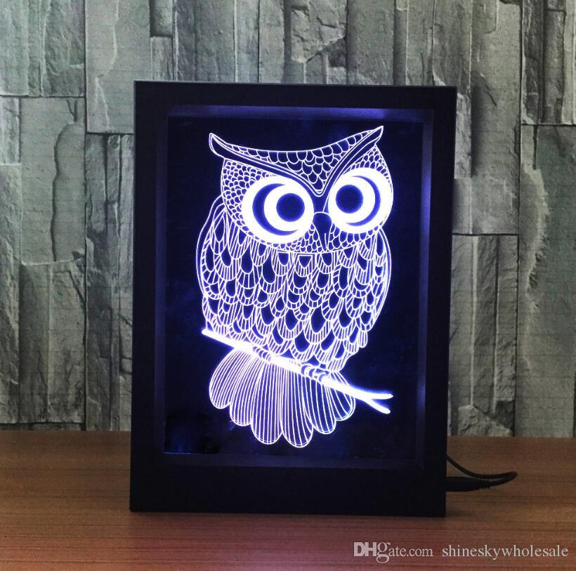 Creative Room Decoration Birthday Gift 3D Owl Shaped USB Photo Frame Night Light LED Kids Bedside Acrylic Table Lamp Light