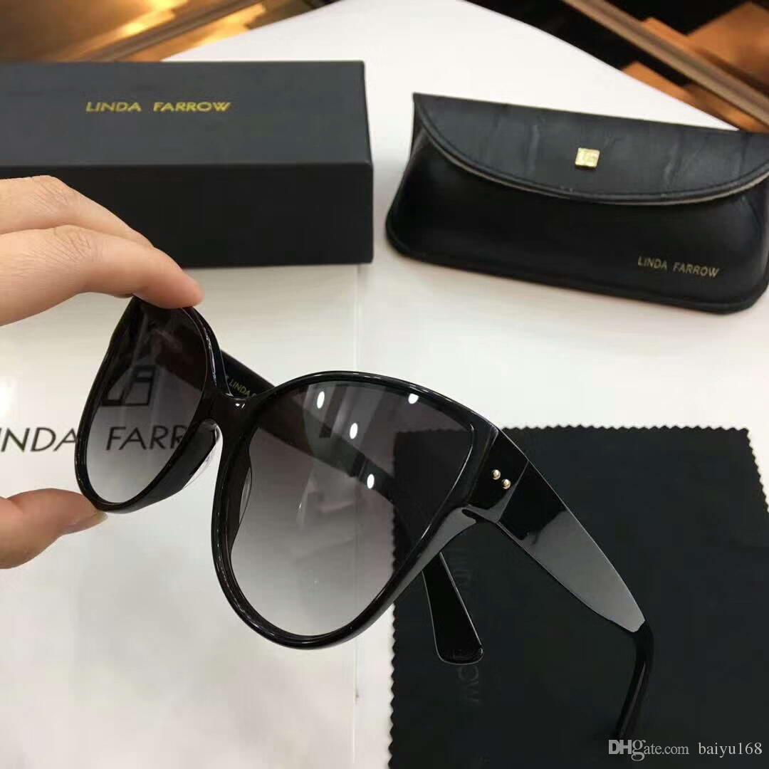 6b348a5f1c5 Designer Linda Farrow Cat Eye Sunglasses Black Grey Lens Fashion Brand  Sunglasses New With Box Womens Sunglasses Sunglasses Sale From Baiyu168