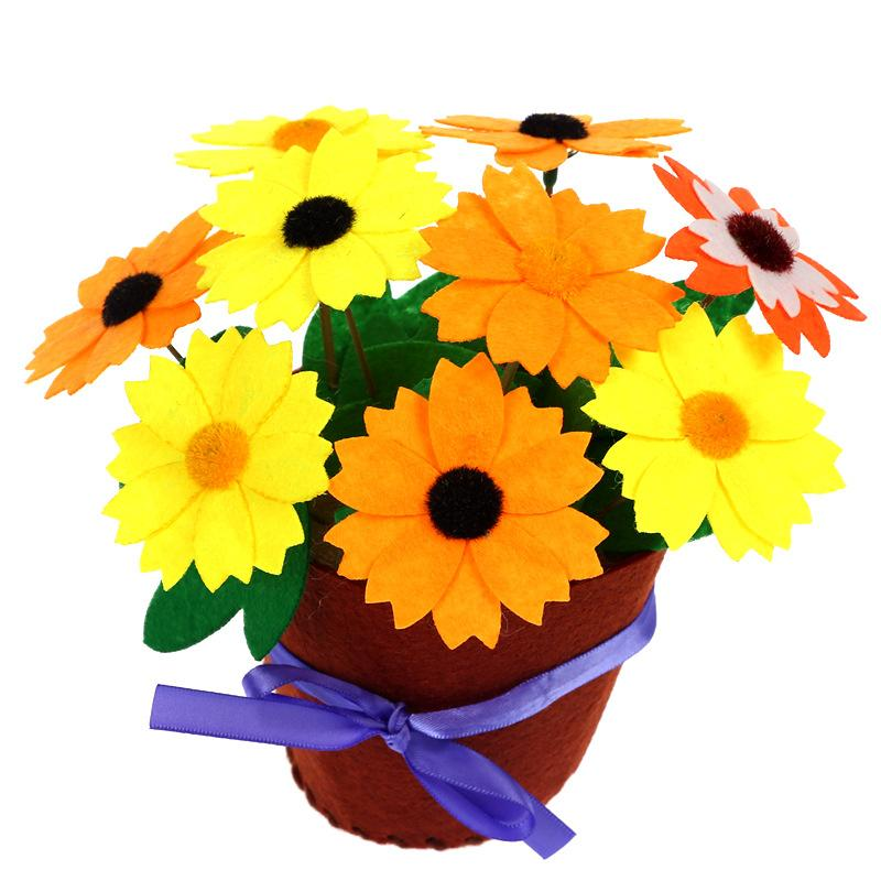 Cute Children Hand Woven Flower Potted Kid Creative DIY Party Decoration Festival Gift Manual Material Bags Craft Supplies