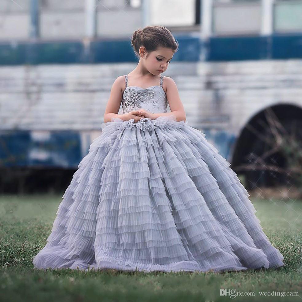 3992b124dfb4 Acquista Splendido Abito Da Ballo In Pizzo Abito Da Ragazza Di Fiori Abiti  Da Cerimonia Nuziale Bambini In Tulle Tulle Appliqued Piano Lunghezza  Bambini ...