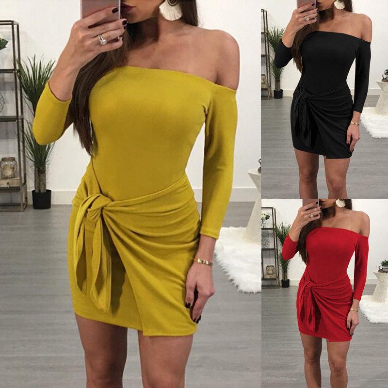7bddb95f005c Sexy Women Dress Bodycon Bandage Slim Party Evening Off Shoulder Clubwear  Mini Dress Fashion Women Clothes Long Sleeve Dresses For A Cocktail Party  Cocktail ...