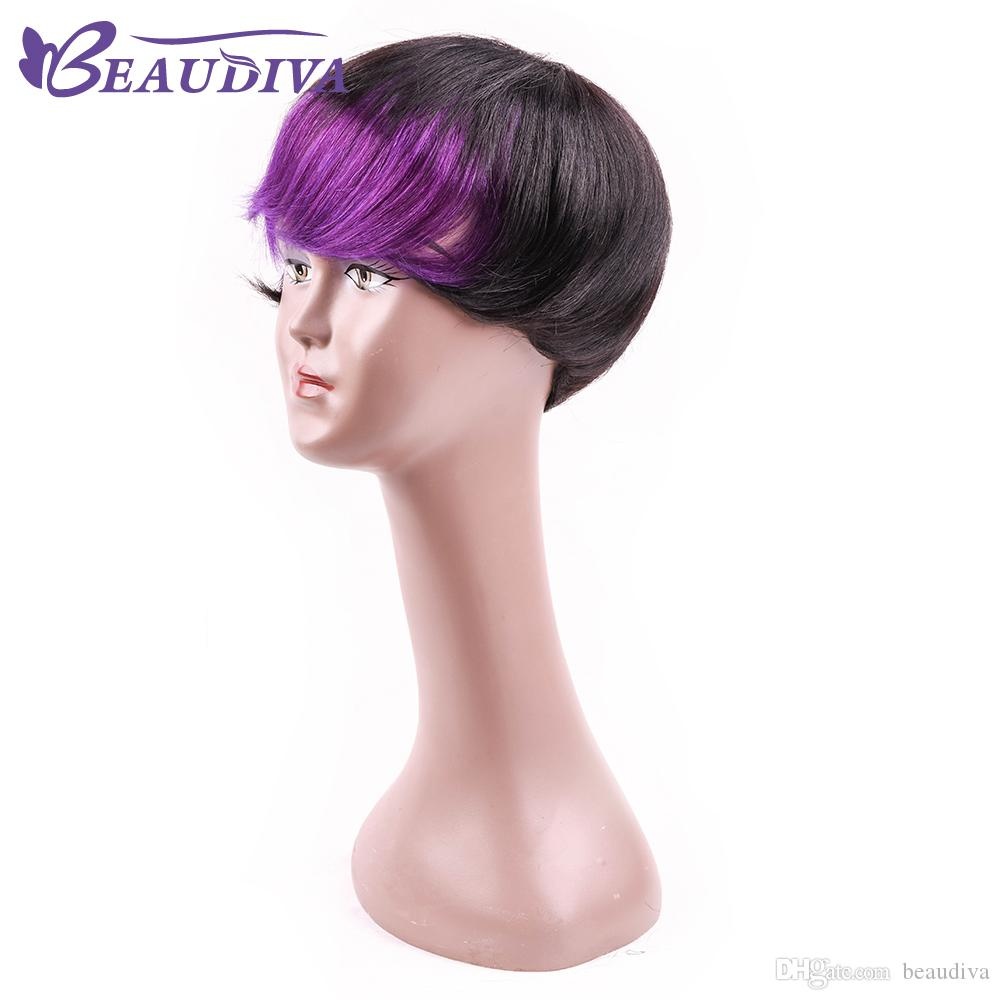 Beaudiva Blue Black Hair Highlights Short Wig For Black Women Human Hair Wigs Straight Puffy African American Wigs