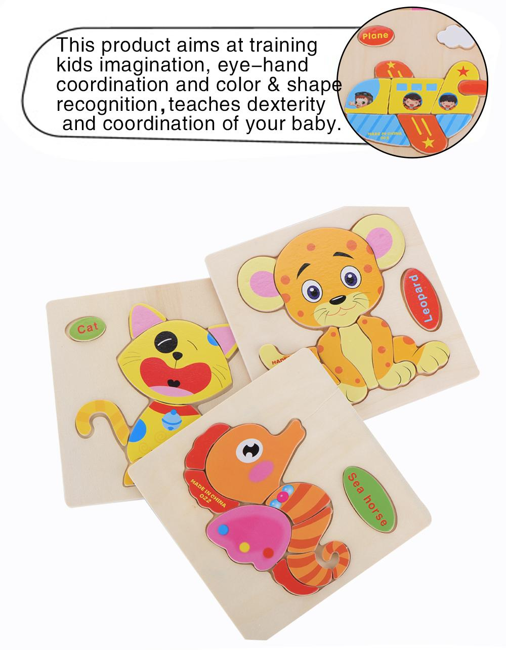 28 Styles Learning Education Wooden Toys 3d Puzzle kids Gift Brain Jigsaw Cartoon Animal Wooden Puzzles Toy Children Educativos