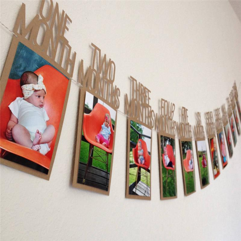 2019 DIY Baby Photo Banner First Birthday Decorations 1 12 Months Monthly Wall Wedding Party Banners Decoration From Aurorl 225