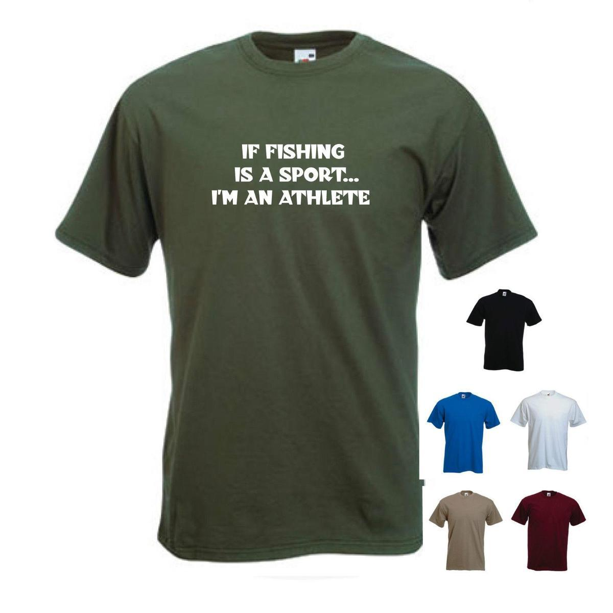 'If fishing is a sport...I'm an athlete'. - Funny mens fishing T-shirt. S-XXL
