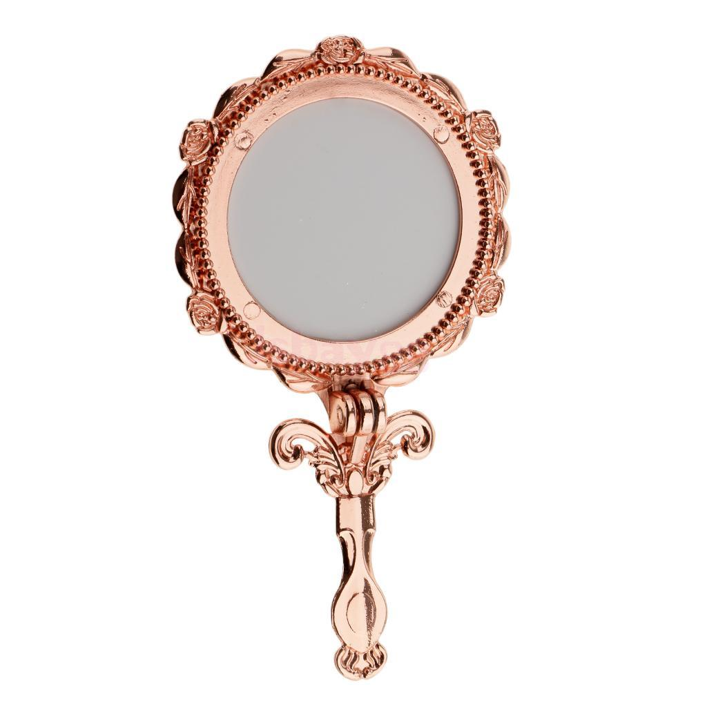 Mini Vintage Antique Style Handheld Cosmetic Folding Makeup Mirror Rose  Gold Round