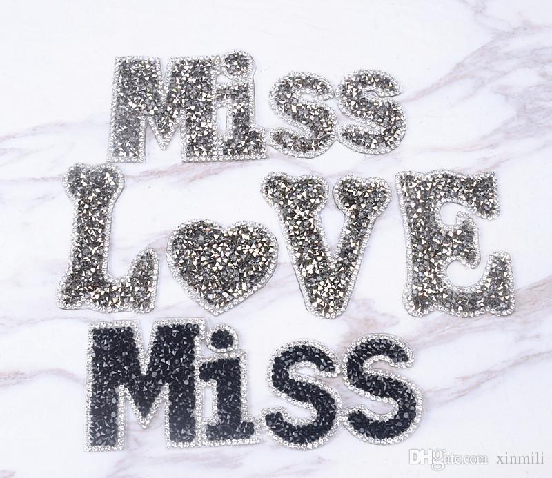 2019 Miss LOVE Design Hotfix Rhinestones Heat Transfer Design Iron On DIY  Motifs Applique Garment Bag Shoehat From Xinmili 5ea3d8b7f9dd