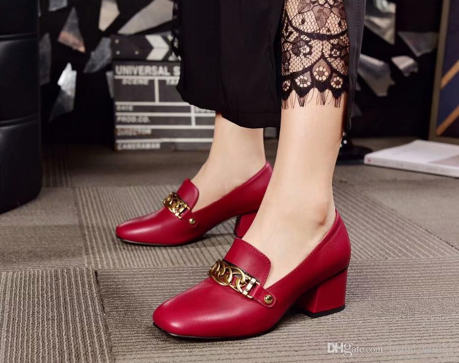 4c09126cdf3 High Heels Dress Shoes Women S Pumps Genuine Leather Chunky Heel Metal  Chains Wedding Red Square Toes Office Lady Summer Pumps Casual Shoes Shoes  For Women ...
