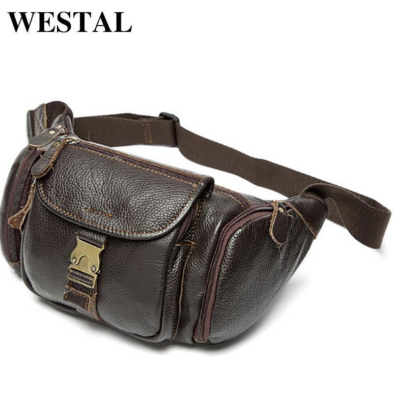 a1dc1da79794 Westal Genuine Leather Waist Bag Men  S Leather Fanny Pack Belt Bag Man  Chest Bags Men Waist Pack Fashion Male Waist Wallet Travel Handbags  Visconti Bags ...