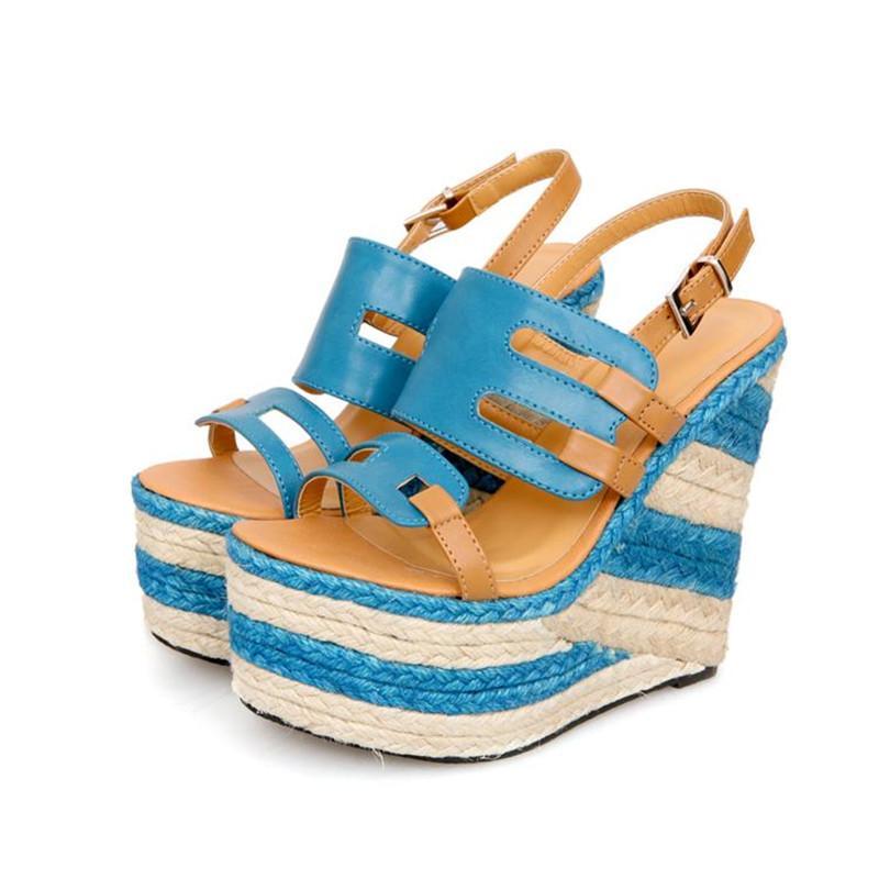 2018 Summer Sandals Women 14CM Super High Heels Platform Wedges Shoes Buckle Ankle Wrap Hollow Peep Open Toe Ladies Shoes Women