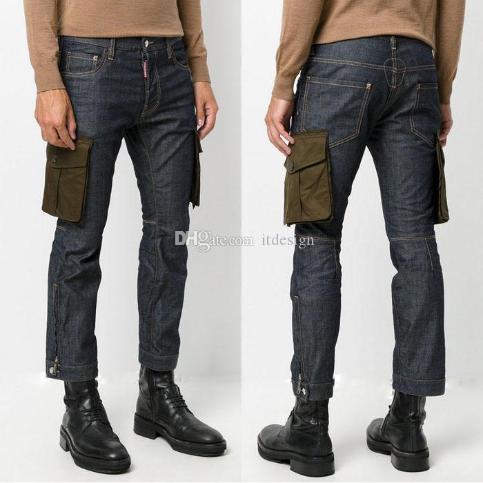 13d0d70c36e06 2019 Man Cargo Pockets Slim Fit Jeans Contrast Stitching Low Rise Button  Fly Young Man Denim Pants From Itdesign, $39.6 | DHgate.Com